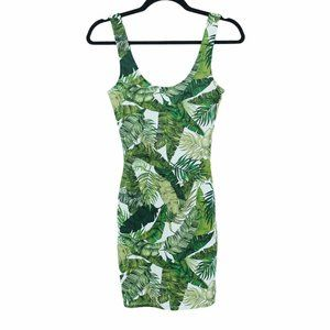H&M Divided green bodycon palm leaf green dress